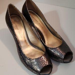 Antonio Melani Silver Gray Leather Peep Toe Pumps